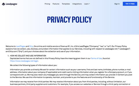 Leadpages® Privacy Policy
