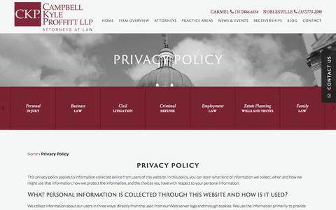 Screenshot of Privacy Page ckplaw.com - Privacy Policy | Campbell Kyle Proffitt LLP | Indianapolis Indiana - captured Jan. 25, 2016