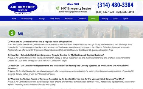 Screenshot of FAQ Page aircomfortservice.com - FAQ | Air Comfort Service St. Louis & St. Charles, MO - captured Nov. 12, 2016