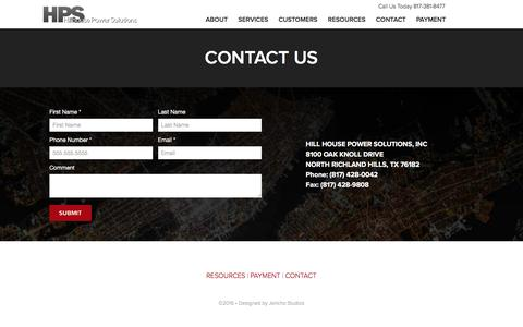 Screenshot of Contact Page hillhousepower.com - Contact - captured Sept. 26, 2016
