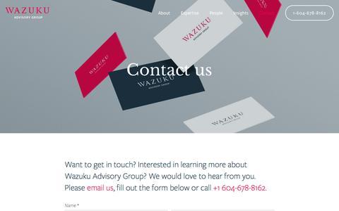 Screenshot of Contact Page wazuku.ca - Get In Touch — Wazuku Advisory Group - captured Dec. 14, 2016