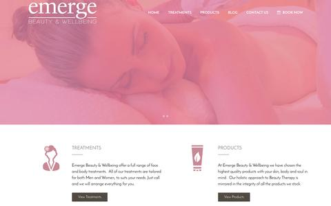 Screenshot of Home Page emergebeauty.co.nz - Home - Emerge Beauty and Wellbeing - captured Jan. 22, 2017