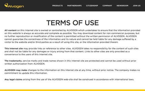 Screenshot of Terms Page alvogen.com - Alvogen - captured Oct. 29, 2014