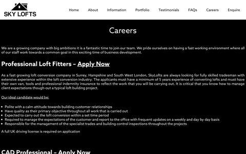 Screenshot of Jobs Page skylofts.co.uk - Careers - SkyLofts - captured Nov. 3, 2017