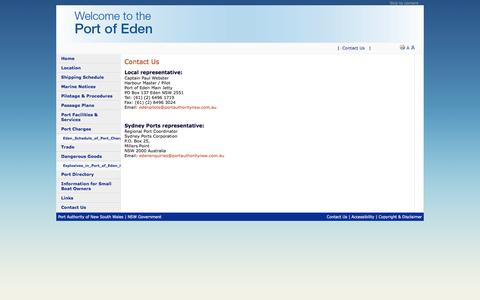 Screenshot of Contact Page edenport.com.au - Eden Port - Contact Us - captured March 11, 2016