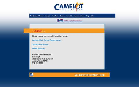 Screenshot of Contact Page cameloteducation.org - Camelot Education - captured Sept. 27, 2014