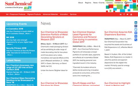 Screenshot of Press Page sunchemical.com - News Archives - Page 2 of 4 - Sun Chemical - captured March 22, 2018