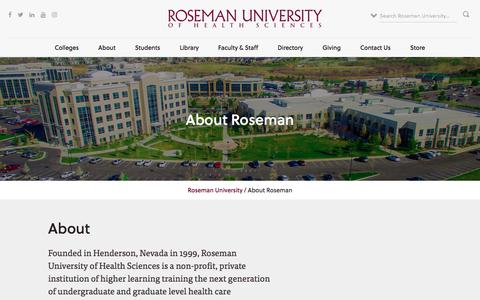 Screenshot of About Page roseman.edu - About Roseman | Roseman.edu - captured July 3, 2017