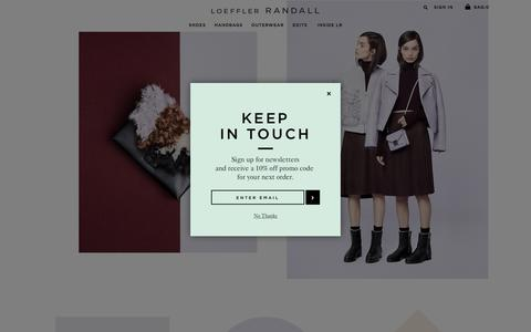 Screenshot of Home Page loefflerrandall.com - Loeffler Randall |  Designer Shoes & Handbags - captured Oct. 14, 2015