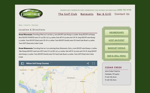 Screenshot of Contact Page Maps & Directions Page cedarcreekonalaska.com - Directions to Cedar Creek in Onalaska, WI - captured March 7, 2016