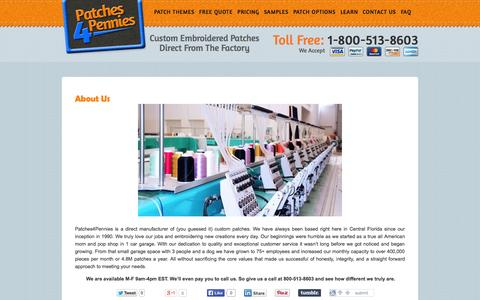 Screenshot of About Page patches4pennies.com - About Us - Patches4Pennies - captured Oct. 1, 2014