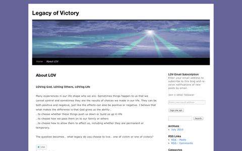 Screenshot of About Page wordpress.com - About LOV | Legacy of Victory - captured Sept. 12, 2014