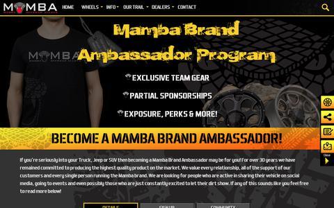 Screenshot of Signup Page mambawheels.com - Mamba Brand Ambassador Program   Mamba Offroad Wheels - captured Jan. 15, 2018