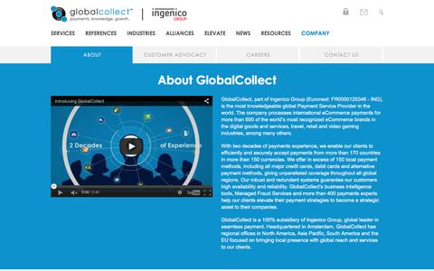 Screenshot of About Page globalcollect.com - About - captured Dec. 10, 2015