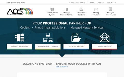 Screenshot of Home Page aoscopy.com - Copiers, Print & Imaging Solutions, Managed IT Services - AOS Automated Office Systems - captured Nov. 13, 2018