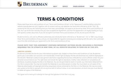 Screenshot of Terms Page Team Page bruderman.com - Wealth Management | United States | Bruderman | Terms & Conditions - captured Oct. 6, 2018