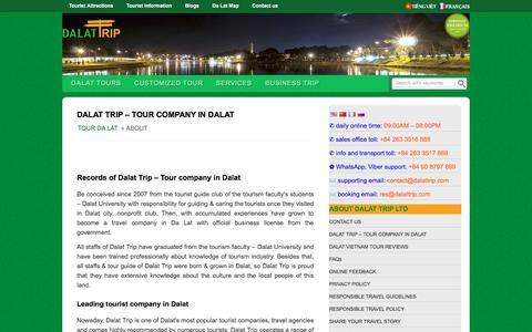 Screenshot of About Page dalattrip.com - DALAT TRIP - TOURIST COMPANY IN DALAT - captured Oct. 11, 2017