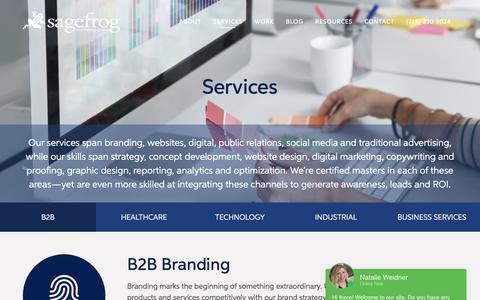 Screenshot of Services Page sagefrog.com - Our Services   Sagefrog - captured July 17, 2019