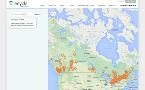 Screenshot of Locations Page ecyclesolutions.com - Recycling Depots | eCycle Solutions - captured Sept. 30, 2014