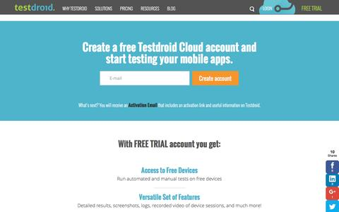 Screenshot of Trial Page testdroid.com - Try for free | Testdroid - captured Jan. 15, 2016