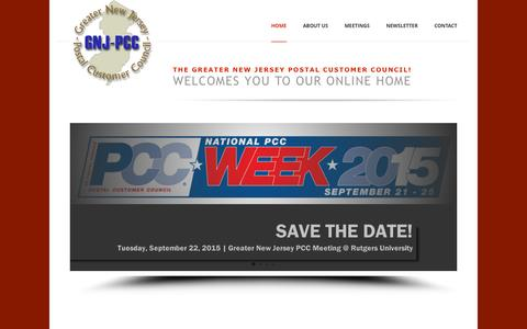 Screenshot of Home Page gnjpcc.com - GNJPCC - The GNJPCC's mission is to employ its resources to implement and coordinate the activities of the US Postal Service in its relations with the business community and public in general - captured Sept. 12, 2015