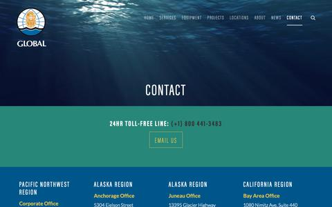 Screenshot of Contact Page gdiving.com - Contact | Global Diving & Salvage - captured Sept. 28, 2018