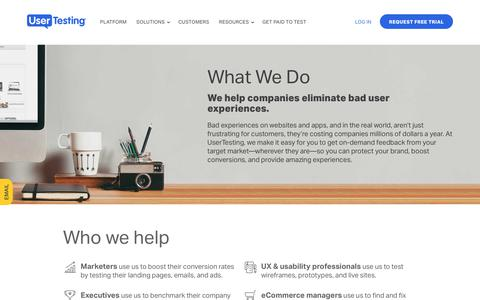 Screenshot of About Page usertesting.com - About UserTesting: What We Do and Who We Help - captured April 4, 2018