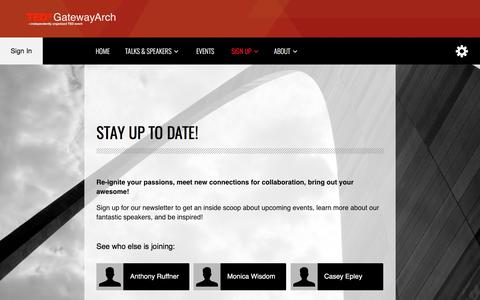 Screenshot of Signup Page tedxgatewayarch.org - Newsletter - TEDxGatewayArch - captured June 13, 2017