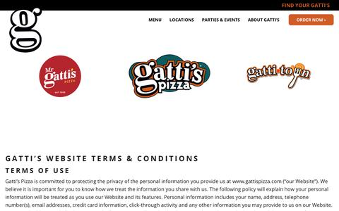 Screenshot of Terms Page gattispizza.com - Terms & Conditions - Gatti's Pizza - captured Dec. 31, 2016