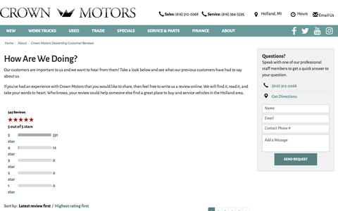 Screenshot of Testimonials Page crownmotors.com - Crown Motors dealership customer reviews - captured Sept. 30, 2018