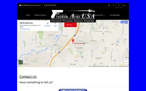 Screenshot of Contact Page freedomarmsusa.com - Contact Us   Freedom Arms USA - captured Feb. 10, 2016