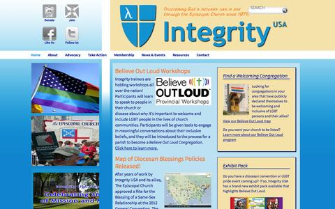 Screenshot of Home Page integrityusa.org - Home - Integrity USA - captured Sept. 30, 2014