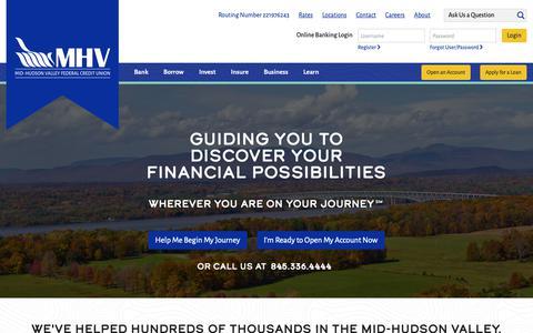 Screenshot of Home Page mhvfcu.com - Mid-Hudson Valley Federal Credit Union - Mid-Hudson Valley Federal Credit Union - captured Nov. 8, 2018
