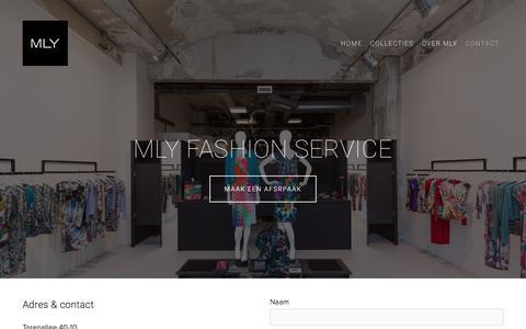 Screenshot of Contact Page mly.nl - Contact — MLY | Een modemerk met een missie - captured July 26, 2018