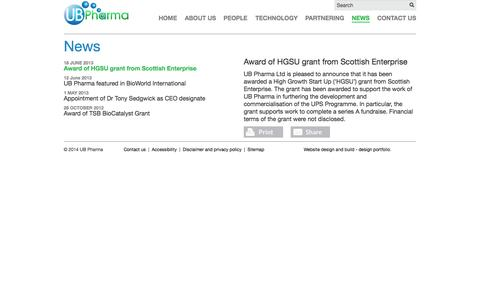 Screenshot of Press Page ub-pharma.com - UB Pharma - News: Award of HGSU grant from Scottish Enterprise - captured Oct. 4, 2014