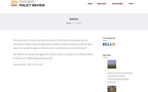 Screenshot of Contact Page chicagopolicyreview.org - Contact – Chicago Policy Review - captured May 16, 2017