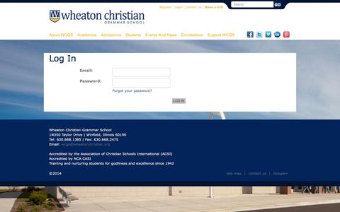 Screenshot of Login Page wheatonchristian.org - Log In (Wheaton Christian Grammar School) - captured Oct. 9, 2014