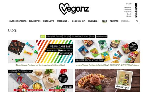 Screenshot of Blog veganz.de - Veganz Blog - Veganz - Wir lieben Leben - captured Aug. 17, 2016
