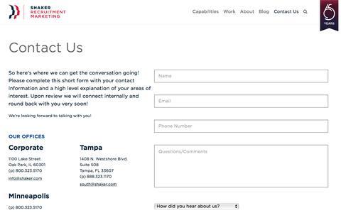 Screenshot of Contact Page shaker.com - Contact Us | Shaker Recruitment Marketing - captured July 7, 2017