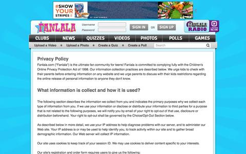 Screenshot of Privacy Page fanlala.com - Privacy Policy | Fanlala.com - captured Sept. 23, 2014