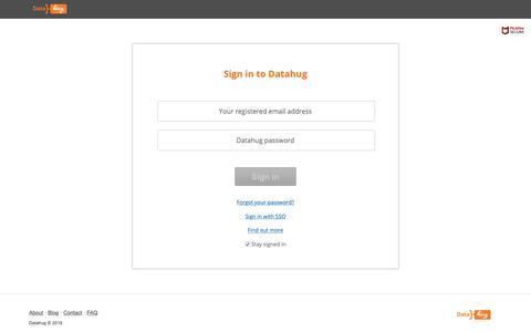 Screenshot of Login Page datahug.com - Sign in | Datahug - captured June 19, 2019