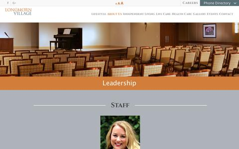 Screenshot of Team Page longhornvillage.com - Leadership | Longhorn Village - captured July 23, 2018