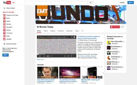 Screenshot of YouTube Page youtube.com - El Mundo Today  - YouTube - captured Oct. 22, 2014