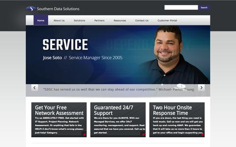 Screenshot of Home Page sdscinc.com - Southern Data Solutions, Inc. | Service. Support. Dependability. Care. - captured Oct. 6, 2014