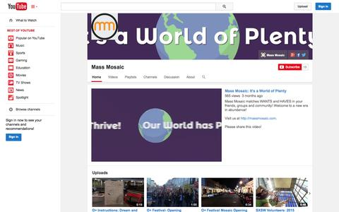 Screenshot of YouTube Page youtube.com - Mass Mosaic  - YouTube - captured Oct. 27, 2014