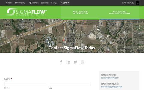 Screenshot of Contact Page sigmaflow.com - Contact – Sigmaflow - captured Dec. 4, 2015