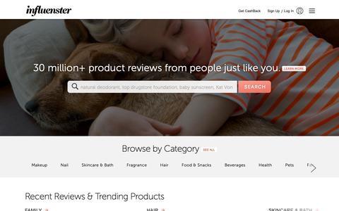 Screenshot of Home Page influenster.com - Influenster - captured Feb. 11, 2019