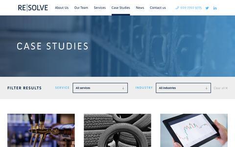 Screenshot of Case Studies Page resolvegroupuk.com - A range of Case Studies from ReSolve - captured Oct. 18, 2018