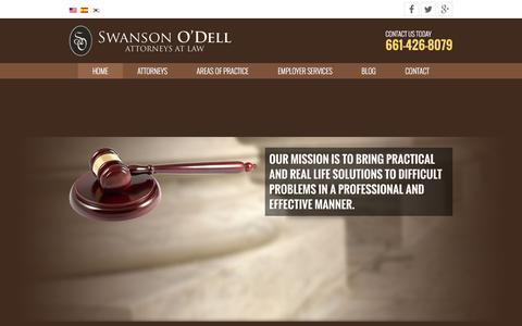Screenshot of Home Page swansonodell.com - Swanson O'Dell | Attorneys at Law - captured Dec. 20, 2015