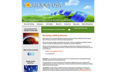 Screenshot of Home Page solarjobsusa.com - Solar Jobs USA :: Home - captured Jan. 30, 2015